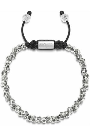 Nialaya Man Armband - Men's Beaded Bracelet with Sterling Silver Faceted Flower Beads