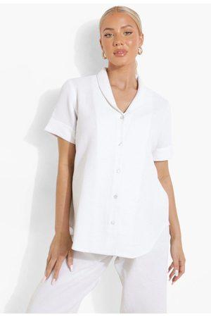 Boohoo Mammakläder - Kortärmad Pajamasskjorta Och Byxor, White