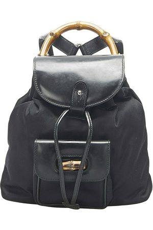 Gucci Pre-owned Bamboo Canvas Drawstring Backpack