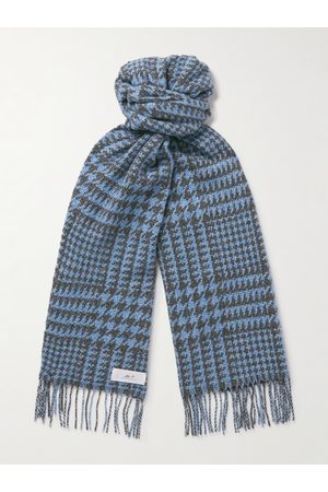 Mr P. Man Sjalar - Fringed Houndstooth Merino Wool and Cashmere-Blend Scarf