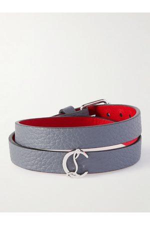 Christian Louboutin Silver-Tone and Full-Grain Leather Wrap Bracelet