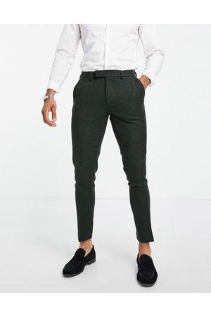 ASOS DESIGN – Kakigröna kostymbyxor i extra skinny passform i tweed av ylletyg- /a