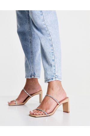 ASOS – Hamilton – Beige och silverfärgade skor med öppen häl och halvhöga klackar