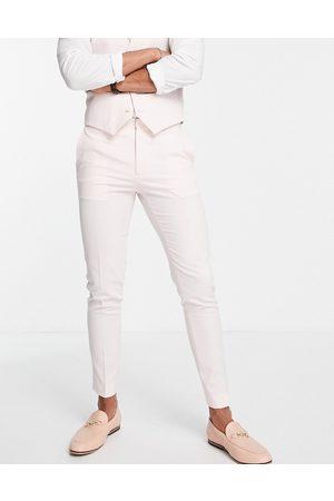 ASOS – Pastellrosa kostymbyxor med supersmal passform-Pink