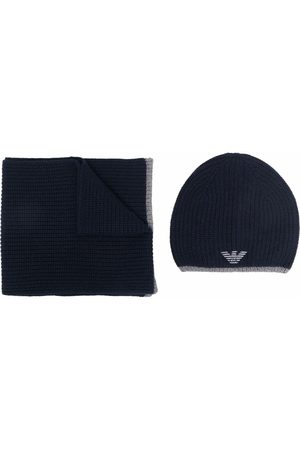 Emporio Armani Embroidered-logo hat and scarf set