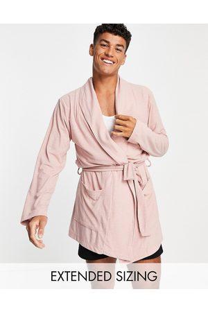 ASOS – Brunrosa ribbad morgonrock, del av set-Pink