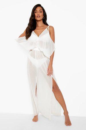 Boohoo Lång Strandklänning Med Fladdermusärm, White