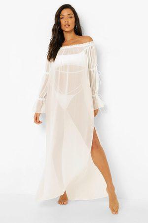 Boohoo Lång Strandklänning, White