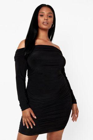 Boohoo Plus - Off Shoulder-Klänning, Black