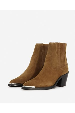 The Kooples Western-style camel suede ankle boots