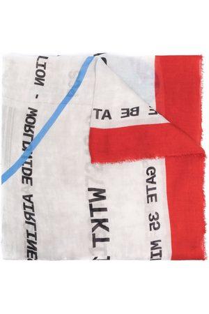 Faliero Sarti Sjalar - Slogan-print frayed scarf