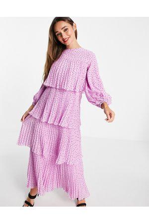 ASOS Kvinna Festklänningar - – Prickig panelsydd maxiklänning med plissering-Flera