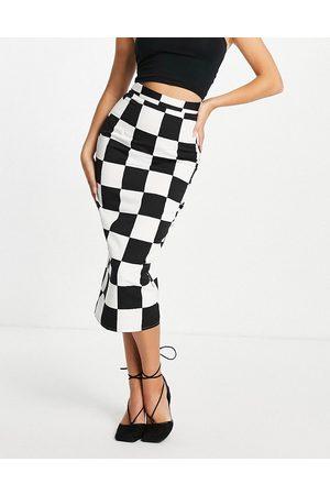 ASOS DESIGN Kvinna Pennkjolar - – Skulpterande midaxikjol med storrutigt schackmönster-Flera