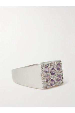 Bleue Burnham Man Ringar - Rose Garden Recycled Sterling Sapphire Signet Ring