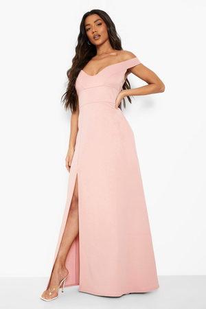Boohoo Kvinna Bandeauklänningar - Långklänning Med Off Shoulder-Detaljer Och Hjärtformad Skärning, Pink