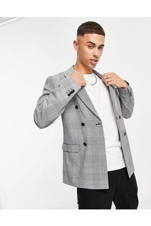 jack & jones Man Kostymer - Premium – Rutig dubbelknäppt kavaj med avslappnad passform, del av kostym- /a