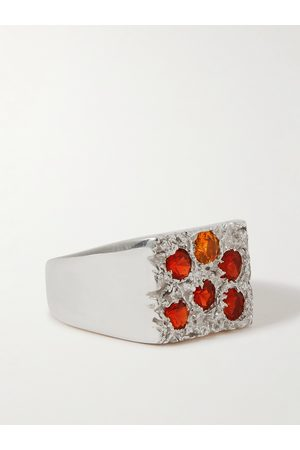 Bleue Burnham Rose Garden Recycled Sterling Sapphire Signet Ring
