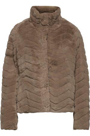 VILA Kvinna Pälsjackor - Vialiba Jacket/Su Outerwear Faux Fur Brun