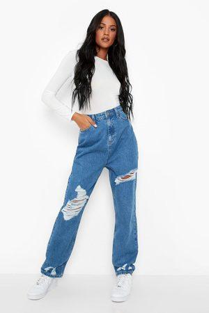Boohoo Kvinna Mom jeans - Tall - Slitna Mom Jeans, Blue