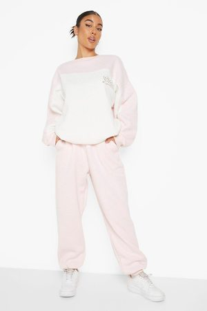 Boohoo Ofcl Applique Colour Block Sweater Tracksuit, Pink