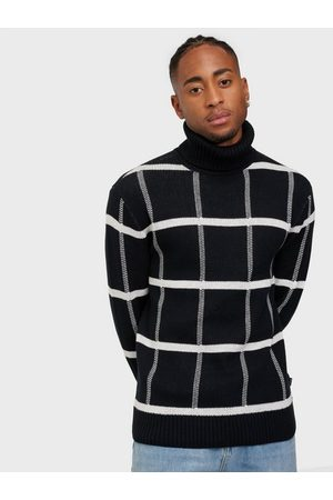 Casual Friday Man Stickade tröjor - Klaes jaquard roll neck knit Tröjor Antracit
