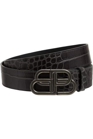 Balenciaga Man Bälten - 3.8cm Bb Croc Embossed Leather Belt