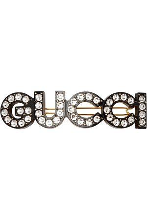 Gucci Crystal-logo hair clip