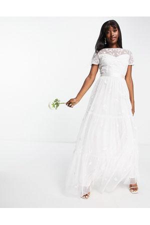 Beauut Kvinna Festklänningar - – För bruden – Benvit broderad maxiklänning med tyllkjol- /a