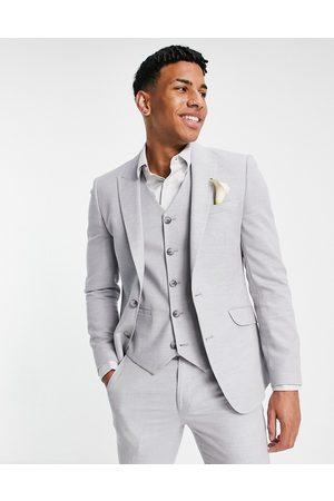 ASOS – Bröllop – Isgrå kavaj med supersmal passform och mikrostruktur, del av kostym