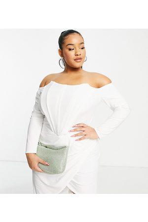 Jaded Rose Kvinna Festklänningar - – Krämvit midiklänning i omlottdesign med korsett-detaljer, endast hos ASOS-Natur