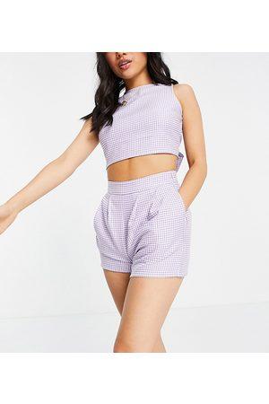 Miss Selfridge Kvinna Shorts - – Syrénlila, ginghamrutiga shorts