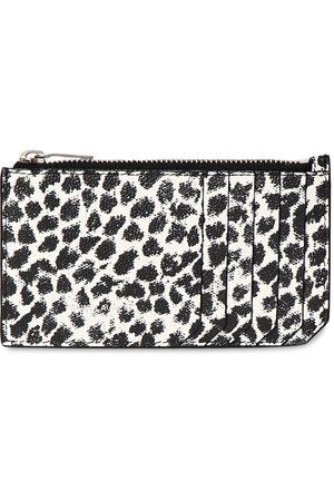 Saint Laurent Leopard Print Leather Zip Card Holder