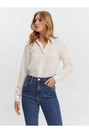 VERO MODA Long Sleeved Shirt Kvinna White