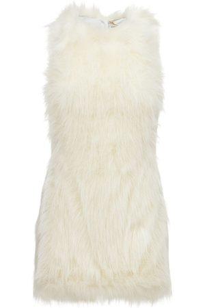 Saint Laurent Kvinna Ärmlösa klänningar - Sleeveless Feathered Mini Dress