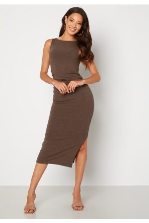 BUBBLEROOM Minea drapy sleeveless dress Brown melange S