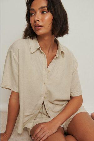 NA-KD Linneloungeskjorta med kort ärm