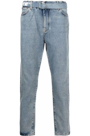 Off-White Man Slim jeans - BELT SLIM LOW CROTCH BLEACH INDIGO WHITE