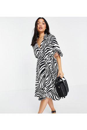 Topshop – Zebramönstrad skjortklänning-Flera