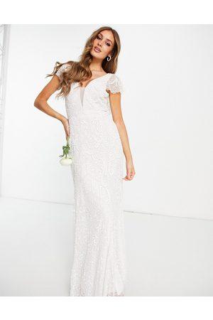 Beauut Kvinna Festklänningar - – För bruden – Benvit utsmyckad maxiklänning med utsvängd ärm- /a