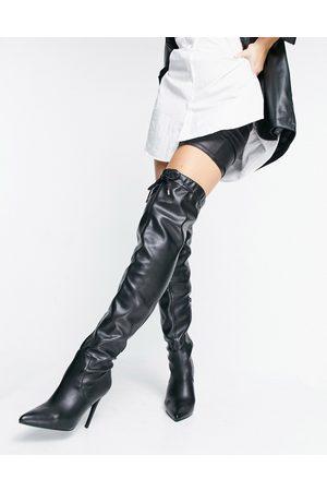 ASOS – Kempton – Svarta lårhöga boots- /a