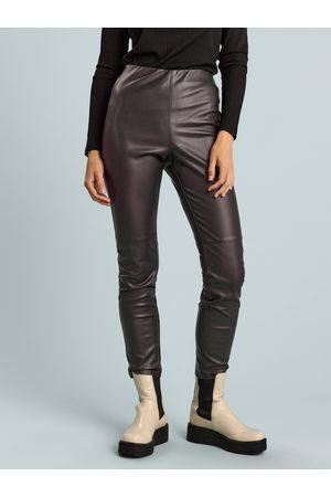 Lindex Kvinna Byxor - High waist byxa i läderimitation