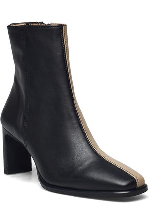 ANGULUS Bootie - Block Heel - With Zippe Shoes Boots Ankle Boots Ankle Boot - Heel Svart