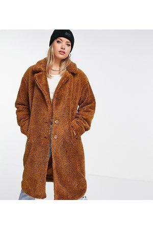 Threadbare Tall – Bear – Ljusbrun oversize-kappa i teddy- /a