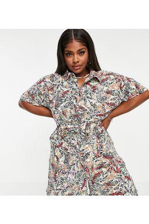 Noisy May Noisy May – Curve – Playsuit i skjortmodell med tropiskt mönster-Flera