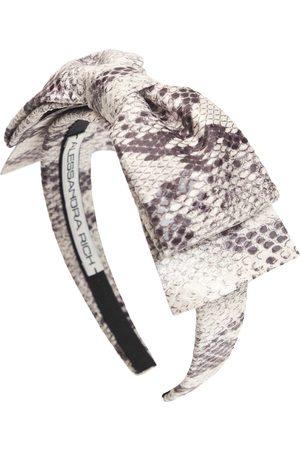 Alessandra Rich Python Print Headband W/ Bow