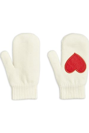 Mini Rodini Heart Knitted Mittens Handskar Creme