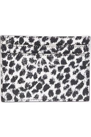 Saint Laurent Man Plånböcker - Leopard-print leather cardholder