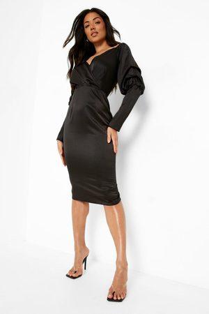 Boohoo Satin Bardot Blouson Sleeve Midi Dress, Black