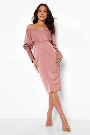 Boohoo Satin Bardot Blouson Sleeve Midi Dress, Pink