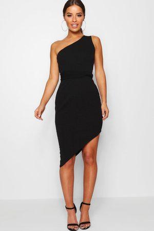 Boohoo Petite Recycled Asymmetric Bodycon Dress, Black